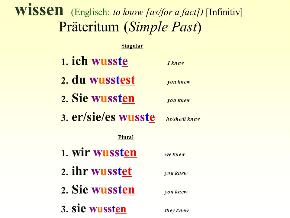 wissen (Englisch: to know [as/for a fact]) [Infinitiv]